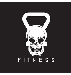 skull in the form of kettlebell fitness concept vector image