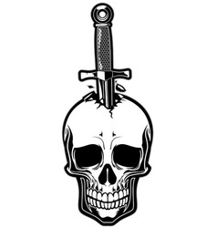 Skull stabbed by the dagger vector image vector image