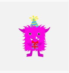 smiley cartoon monster halloween pink monster vector image