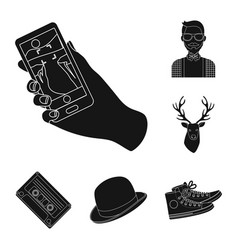 Style hipster black icons in set collection for vector