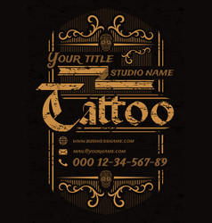 tattoo studio vintage poster template with skulls vector image