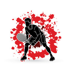 Tennis player action man play tennis vector