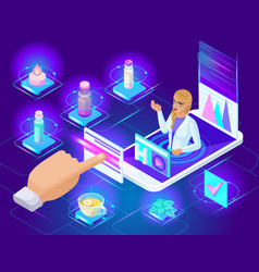 the isometric girl doctor gives an online vector image