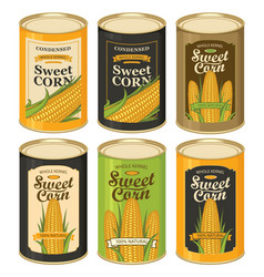 Tin cans with various labels for canned sweet corn vector