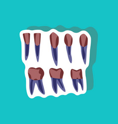 Tooth paper sticker on stylish background vector