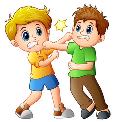 two boys fighting vector image