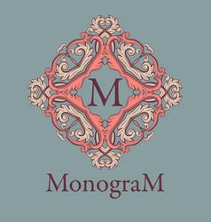 vintage graceful monogram design template vector image