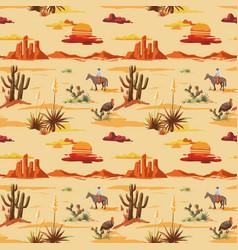 vintage seamless desert pattern landscape cowboy vector image