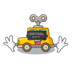 Virtual reality cartoon clockwork toy car for gift vector