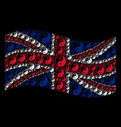 waving great britain flag mosaic of yin yang items vector image