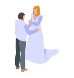 Wedding couple dance icon isometric style vector