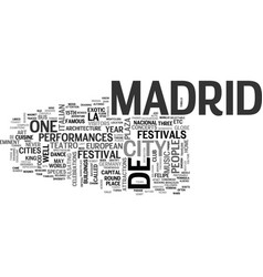 what you need to know about madrid travel text vector image