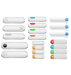 white interface menu buttons 3d shiny icons with vector image