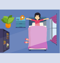 woman wakes up in morning and stretching in vector image