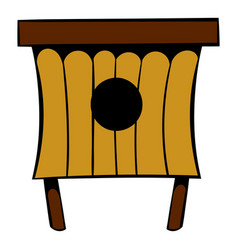 wooden beehive icon icon cartoon vector image