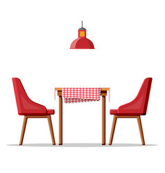 wooden table with tablecloth two chairs and lamp vector image