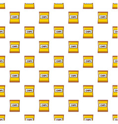 Yellow pouch of potato chips pattern seamless vector