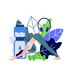 Young woman doing sports standing in downward vector