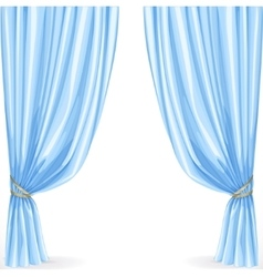 Blue curtain isolated on a white background vector image vector image