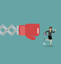 business woman run away from big boxing glove hand vector image vector image