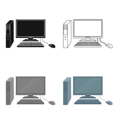personal computer icon in cartoon style isolated vector image