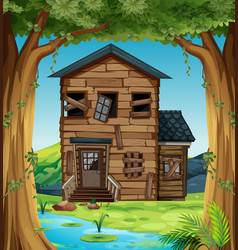 ruined house in the woods vector image vector image