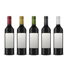 set 5 realistic black bottles of wine vector image vector image