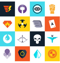 superhero badges with super weapons vector image