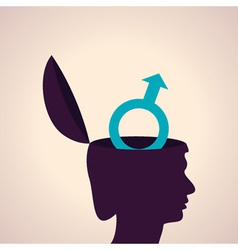 thinking concept-Human head with male symbol vector image