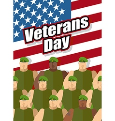 Veterans Day American soldiers are on background vector image vector image