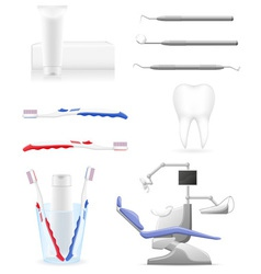 working set dental icons vector image
