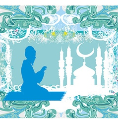 abstract religious background - muslim man prays vector image