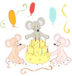 Birthday animals card vector image vector image