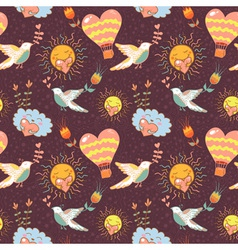 Bright cartoon romantic seamless pattern vector image vector image