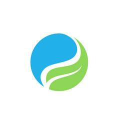 circle ecology water leaf logo vector image