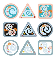 geometrical signs with spirals vector image vector image