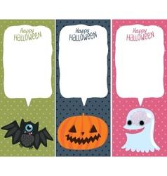 Halloween card set with pumpkin bat ghost vector