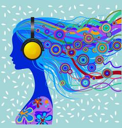 head of girl with head-phones vector image vector image
