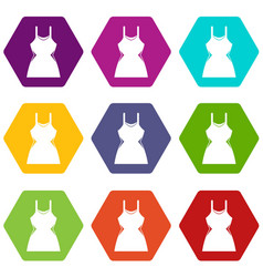 little dress icon set color hexahedron vector image vector image