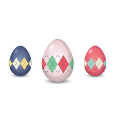 set of argyle pattern painted easter eggs vector image vector image