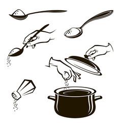 set of spoon salt shaker and pan vector image