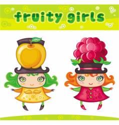 fruity girls series 5 apple raspberry vector image vector image