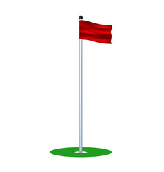 golf hole with red flag vector image
