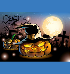 halloween pumpkins on night fullmoon vector image