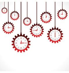 Hanging gear shape red clocks vector