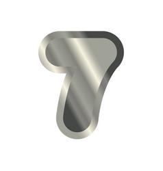 number 7 steel metal font seven silver alphabet vector image