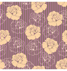Seamless retro floral pattern with pink roses vector image vector image