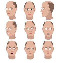 Set of variation of emotions of the same bald man vector image