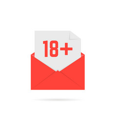 18 plus icon in red open letter on white vector image