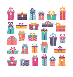 birthday surprise set of different gift boxes vector image vector image